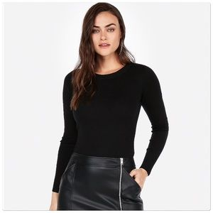 Express Black Crew Neck Fitted Sweater